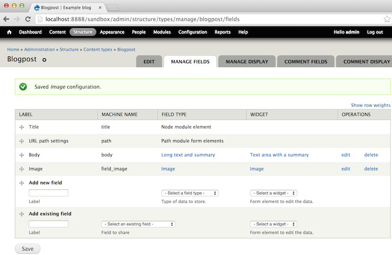 Screen Shot: Content-type: Manage-fields