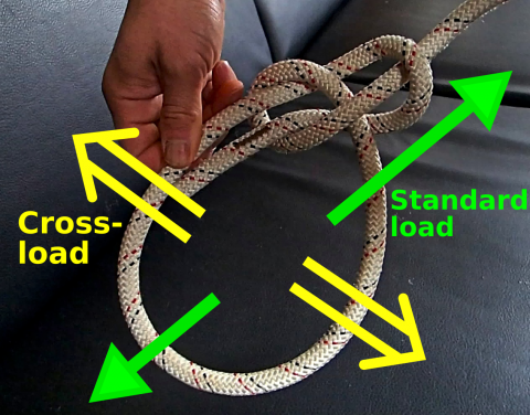 Image of Bowline knot and standard and cross-loads